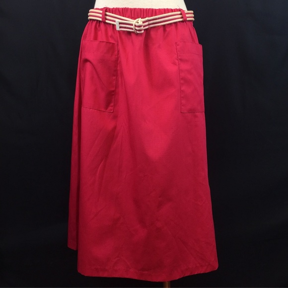 Vintage Dresses & Skirts - Vintage Hot Pink/Red Belted Skirt